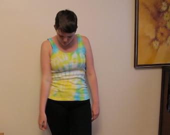 Yellow and Blue tye dye tank top