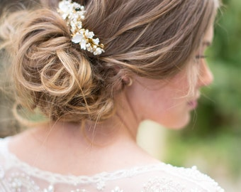 Wedding Hair Accessory, Beaded Bridal Hair comb set, Floral Wedding Hair comb with crystals and flowers - Style 421