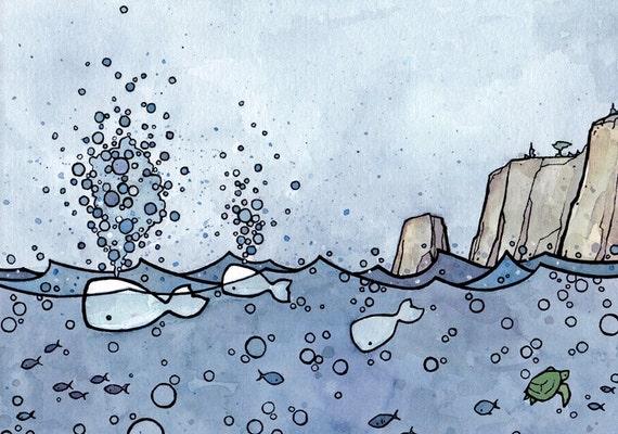 Whale Spouts Illustration Print 5x7, nautical nursery decor