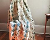 Vintage Afghan Throw Blanket Lacey Diamond Pattern