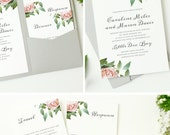 INSTANT DOWNLOAD   Printable Pocket Wedding Invitation   Vintage Botanical   Edit in Word or Pages   Print it Yourself   Mac & PC