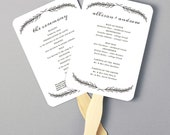 Instant Download   DIY Wedding Program Fan Template - Quill - Editable Colors   Mac or PC   Word & Pages   5x7
