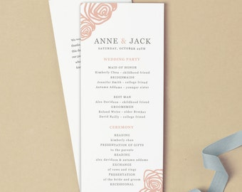 Printable Wedding Program Template | INSTANT DOWNLOAD | Roses | Flat Tea Length | Editable Colors | Mac or PC | Word & Pages