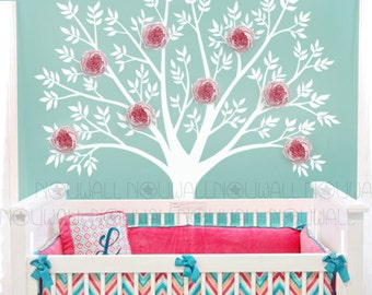 Pink Peony Wall Decal, Tree , Baby, Flower, Nursery Wall Decals, Wall Decor- Wall Sticker