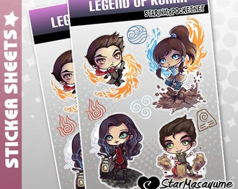 Legend of Korra Stickers - Anime Chibi Sticker Sheet