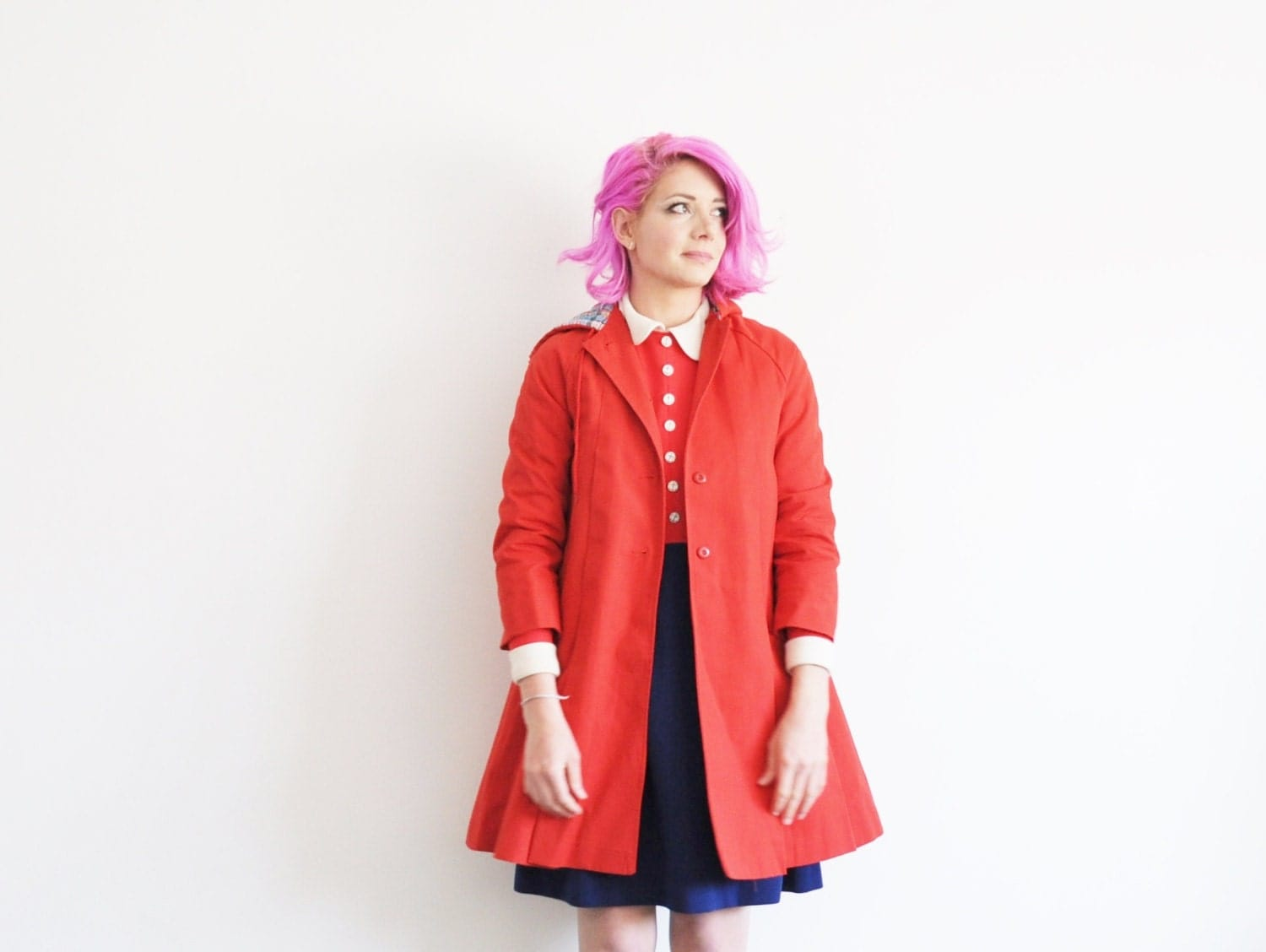 Little Red Riding Hood Coat Mod Red London Fog Jacket Small