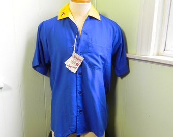 Vintage 50s style Bowling Shirt - Mens DEAD STOCK King Louie 2 Tone Blue and Yellow bowler M L XL - on sale