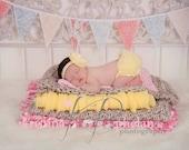 Baby Girl Headband And Chiffon ruffle bum Baby Bloomer in summer yellow- photo prop