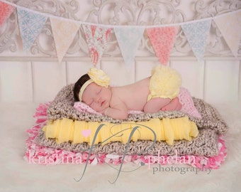 Baby Girl Headband And Chiffon ruffle bum Baby Bloomer in summer yellow- photo prop