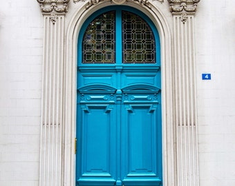 Paris Doors, Paris Print, Door Photography, Paris Teal Turquoise Blue Door Photograph, Ornate Paris Door, Cottage Chic Paris Decor