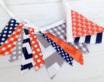 Bunting Banner Mini, Fabric Banner, Fabric Flags, Baby Boy Nursery Decor, Birthday Decoration - Navy Blue, Orange and Gray, Grey, Chevron