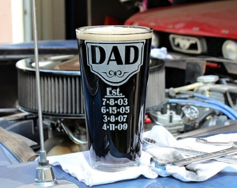 Personalized Beer Glass, Big 22oz Etched Drinking Glass for Him, Dude Gift, Father's Day Gift, Beer Glass w/ Children's Birth Dates.