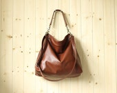 Medium leather bag, Brown leather tote bag, women leather purse - Alice in cognac