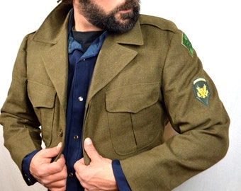Vintage 50s 60s Olive Green Military Wool Cropped Button Up Jacket Coat