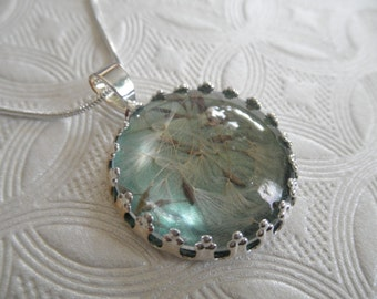 Dandelion Seeds Atop Seafoam Glowing Green Crown Pendant Under Glass-Symbolizes Happiness, Affection-Nature's Wearable Art-Gifts Under 25