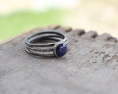 Lapis Lazuli Silver Skinnies MADE TO ORDER stacking rings, set of 3