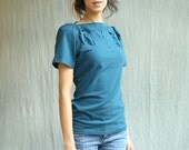 Women's Top, Cotton Jersey, folded detail, puff sleeve, modern chic- made to order