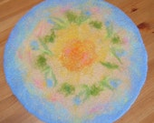 Blue needle felted tablecloth coaster doily, two-sided