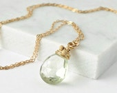 Green Amethyst Necklace / Gold Green Amethyst Pendant / Pale Green Gemstone Pendant / Prasiolite Necklace / Wire Wrapped Pendant