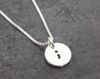 Semicolon Necklace - Sterling Silver Semi colon Necklace