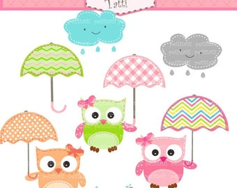ON SALE owls clip art - Digital clip art  for all use,  Owls and Umbrella clip art, Umbrellas clip art, INSTANT Download clip art