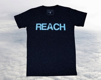 The REACH / ESCAPE Parkour T-Shirt - Speckled Navy with Duck Egg Blue Print