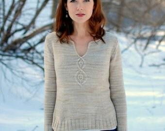 Pdf knitting pattern for nature inspired, feminine pullover for women