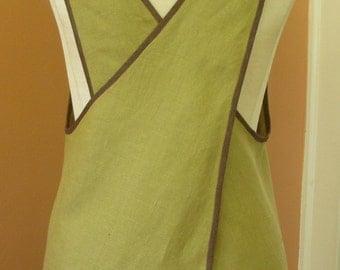 Linen Cross Back Apron, Retro Style, Pure Linen, Green with Brown Edging, Medium