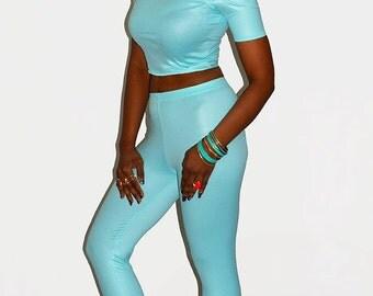 Mint Capri leggings Wet look leggings Mint lycra leggings High waist leggings Cropped leggings Cuffed leggings