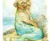 Mer Pug (print) mermaid ocean dog humor