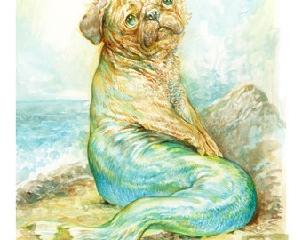 Mer Pug (print) mermaid ocean dog humor
