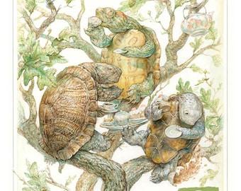 Three Tree Turtles Taking Tea (print)