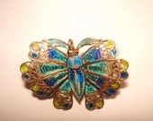 Plique a Jour  Butterfly Multi Color Vintage Jewelry Animal Brooch 800 Silver