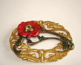 Peridot Crystal Red  Flower Filigree Brooch Gold Tone