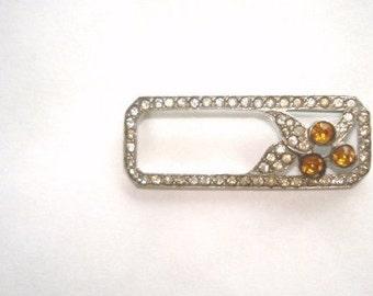 Topaz Clear Rhinestone Brooch Silver Tone Vintage Jewelry