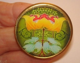 Yellow Flower Green  Leaf Brooch KL Design