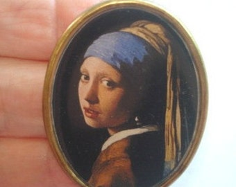 Vintage Jewelry Lady  with Hat Brooch KL Design