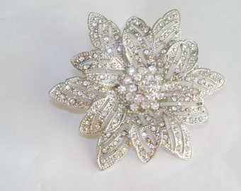 Clear Rhinestone Star Flower Brooch Silver Tone Vintage Jewelry