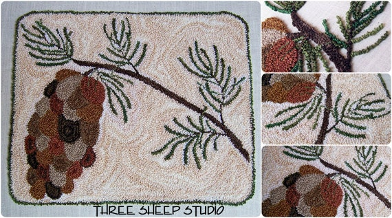 Punch Needle Pattern Winter Pine PN512 by ThreeSheepStudio