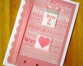 SALE 50% off bride 2 Be Pretty Pink Bridal Shower Handmade Cross Stitch Card (#131)