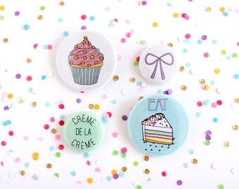 Button Flair Pack - Eat Cake - Set of 4