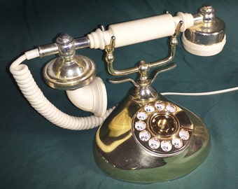 1979 Pillow Talk Ivory & Gold Antique Look Princess Rotary Dial Telephone from Onyx Telecommunications
