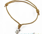 Star Wish bracelet // natural waxed cotton  // sterling silver charm wish friendship bracelet // handmade // ready to ship