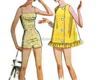 Vintage 1960s Bathing Suit Pattern and Beach Coat..Camisole Bodice Boy Leg Shorts...1962 McCalls 6372 Bust 33