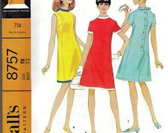 Vintage 1960s Pattern Back Buttoned Flared Dress Back Bow Trim Sleeve Variations 1967 McCall's 8757 Bust 31