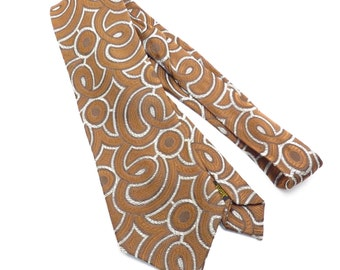 Textured Brown and Grey Abstract Swirl Pattern Tie Vintage 1970s Wide Mens Necktie