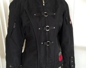Retro Ladies Motorcycle Jacket With Corset Sides and Patches -- Size Large -- Harley Davidson