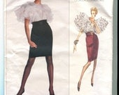 Vogue American Designer 2185 Vintage Oscar de la Renta Ruffled Blouse and Skirt Pattern UNCUT Size 14