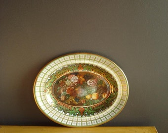 Vintage Tin - Oval Floral Fruit Bowl - Made in England - Tin Serving Bowl or Tray