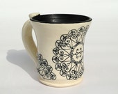 Black and White Coffee Mug - Handmade with Delicate Round Circles